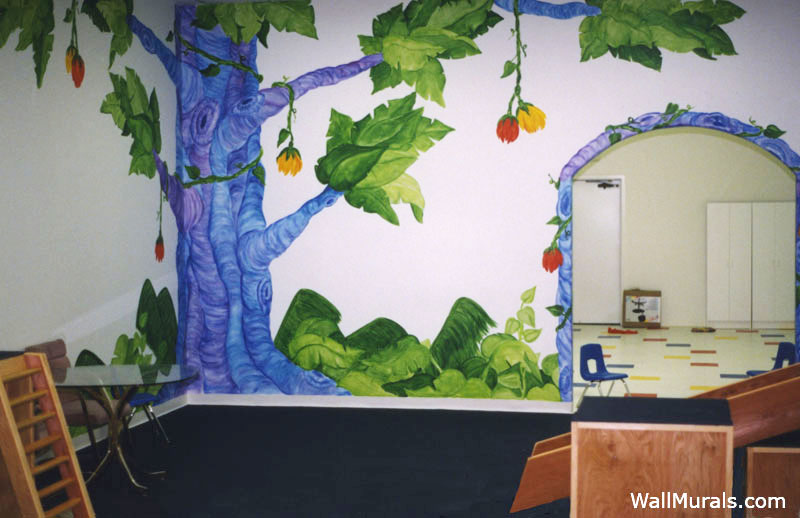 Wall Mural in School - Jungle Tree - Painted Archway