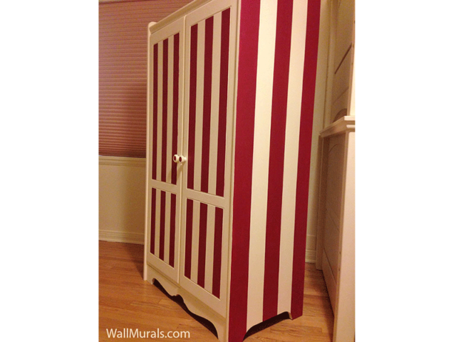 Hand-Painted Striped Armoire