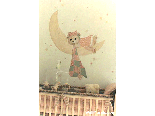 Teddy Bear on Moon Mural