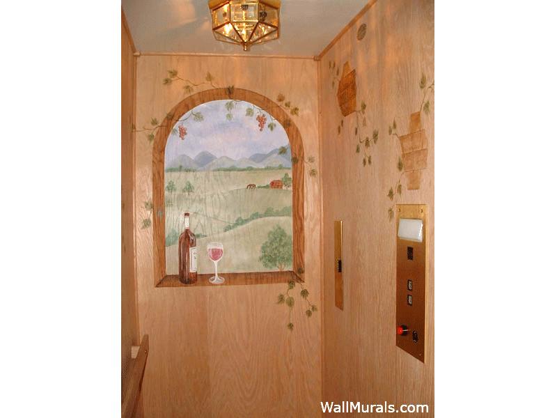 Painted Window Mural in Elevator