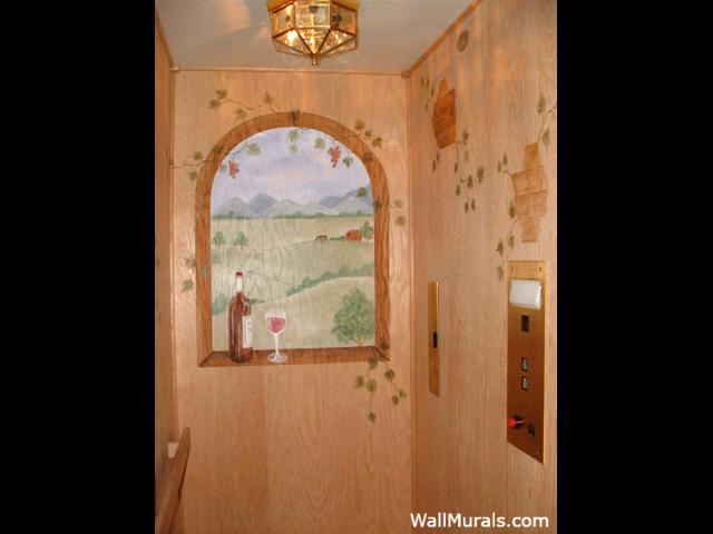 Wine - Vineyard Mural in Elevator