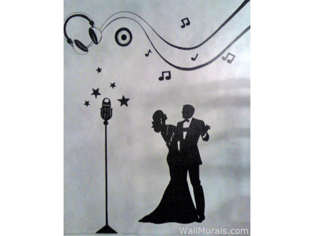 Music Mural with Dancing Silhouette