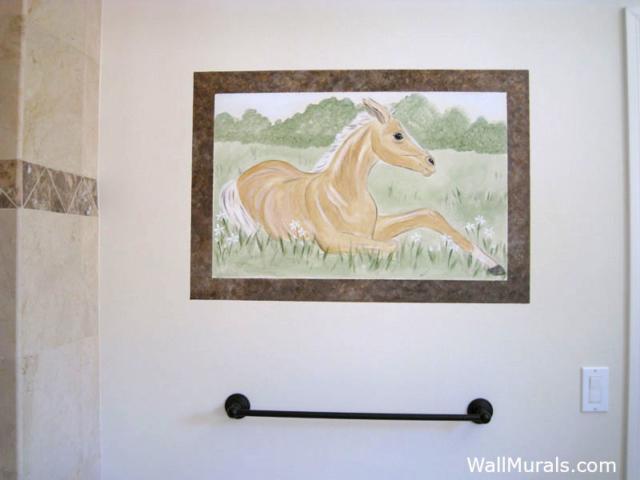 Horse Mural in Bathroom