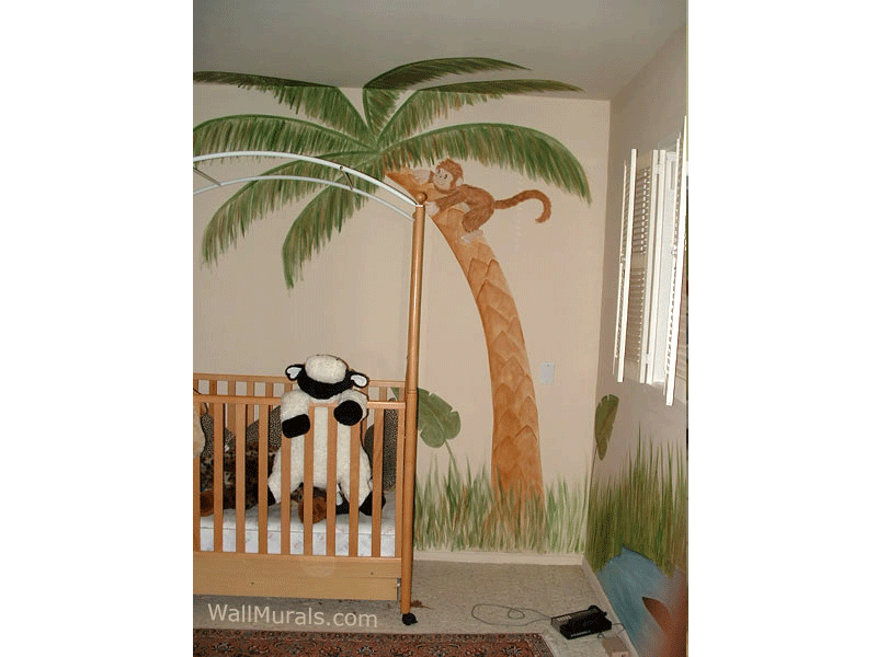 Palm Tree with Monkey Mural