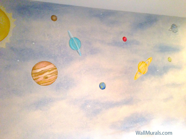 Space Wall Mural with Planets