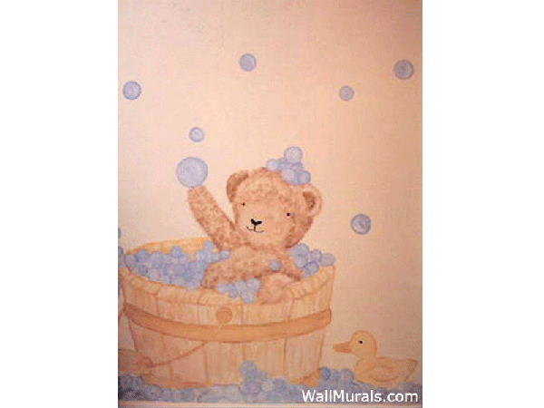 Bubble Bath Teddy Bear Mural