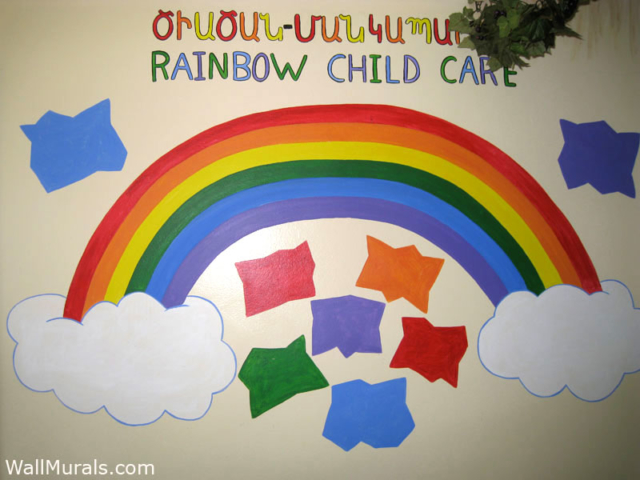 Daycare Wall Mural - Rainbow Mural