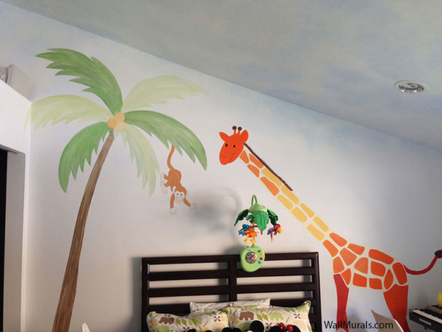 Jungle Wall Mural with Giraffe and Monkey