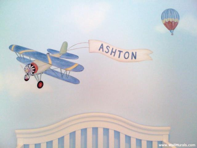 Vintage Biplane Mural - Hot Air Balloon