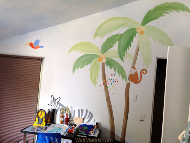 Palm Tree with Monkey Wall Mural