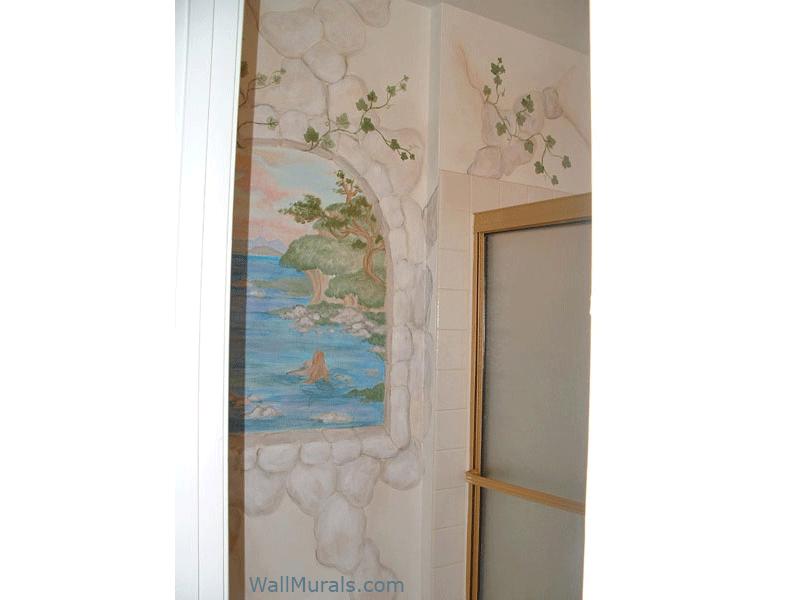 Painted Window Mural in Bathroom