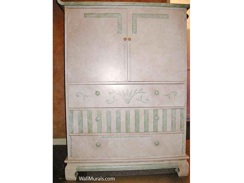 Hand-Painted Dresser - Green and Cream