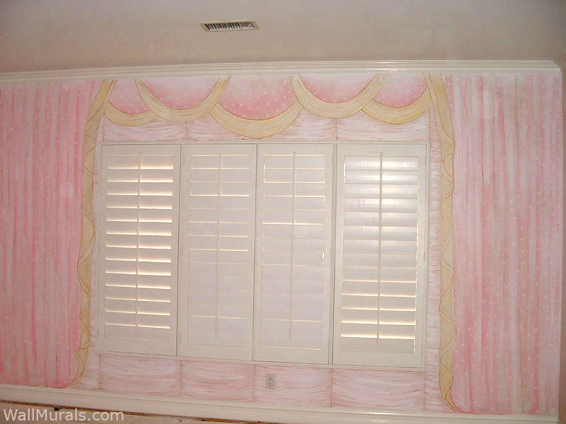 Painted Pink Curtains around Shutters