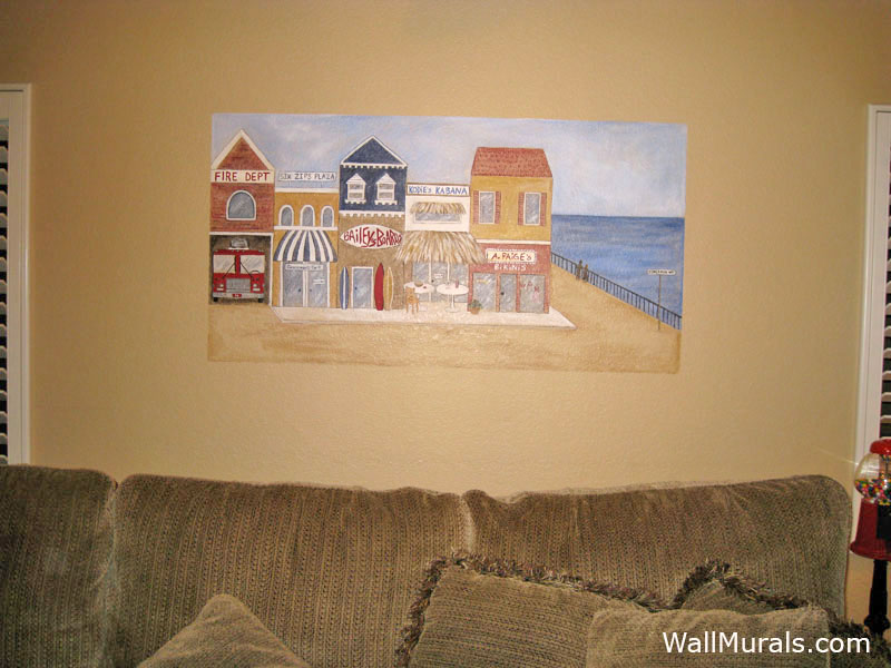 Painted Beach Shop Scene