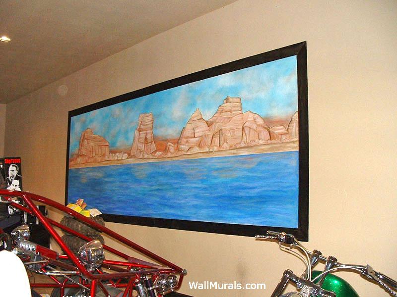 Painted Window Mural with Lake Havasu Scene