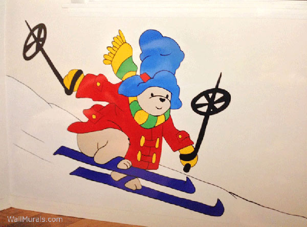 Skiing Teddy Bear Wall Mural