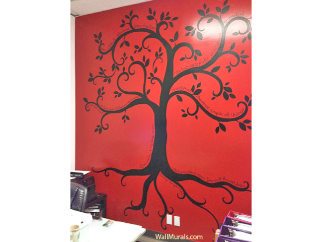 Inspirational Tree Mural in Real Estate Office