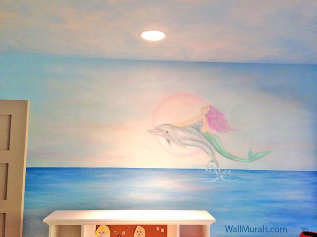 Mermaid Riding Dolphin Wall Mural
