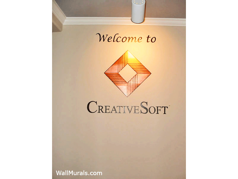 Painted Business Logo on Wall