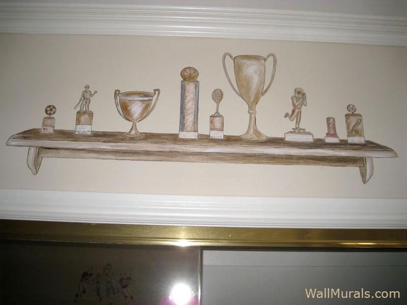 Painted Trophies on Shelf Mural