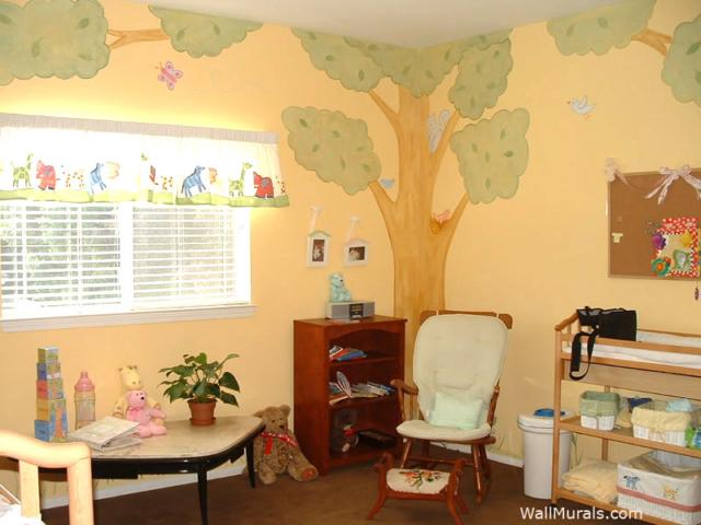 Corner Tree Wall Mural in Nursery