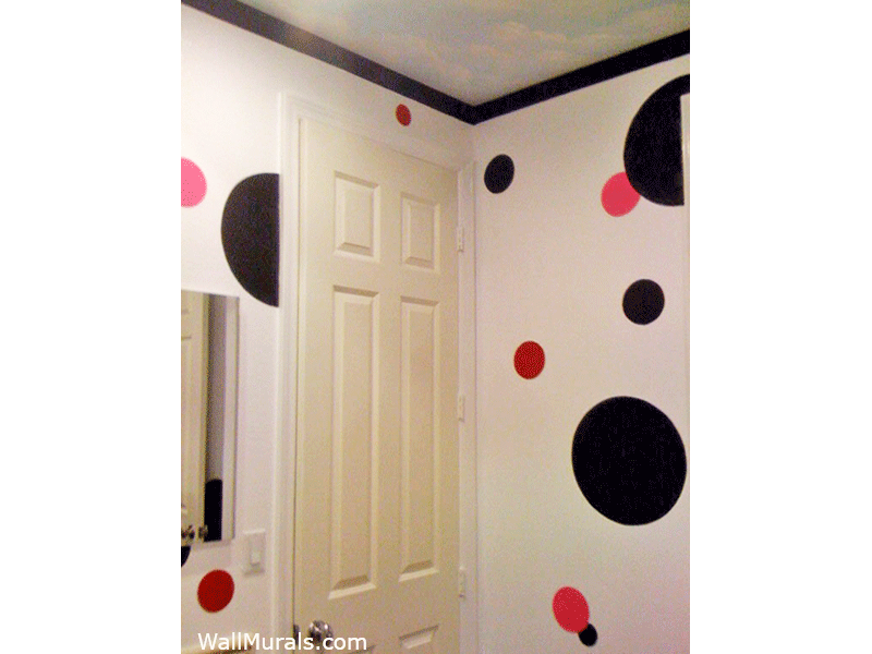 Bathroom Mural - Painted Dots in Pink - Red - Black