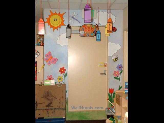 Preschool Mural - Sun - Clouds - Flowers