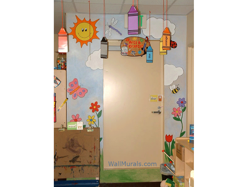 Preschool Mural - Sun - Clouds - Flowers