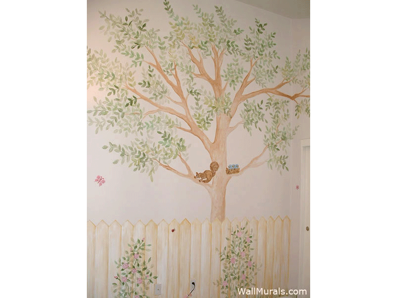 Hand-Painted Tree Wall Mural