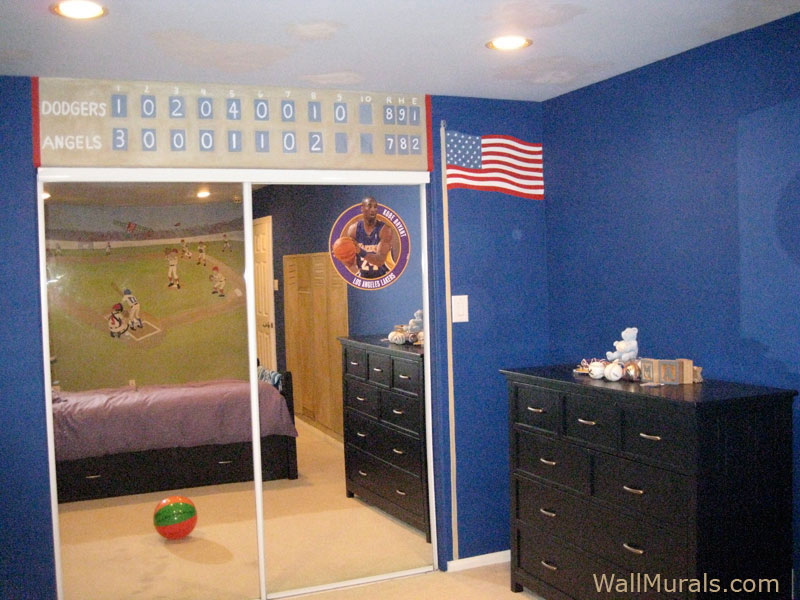 Baseball murals for walls home design for Baseball field wall mural