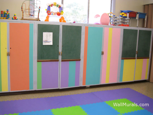 Preschool Wall Mural - Stripes on Built-in Cabinets