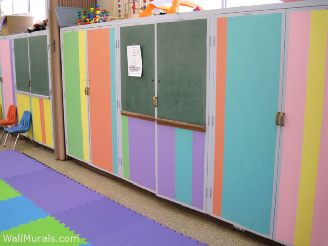Painted Stripes on Built-in Cabinets at Preschool