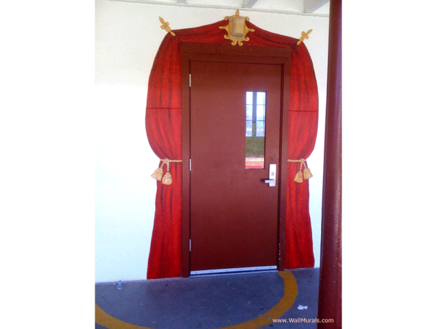Theatre Curtain Painted around Entry to Theatre Classroom