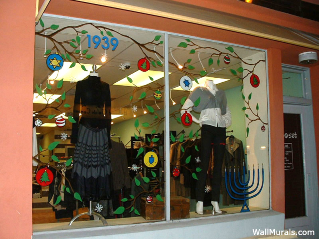 Painted Boutique Window for Holidays