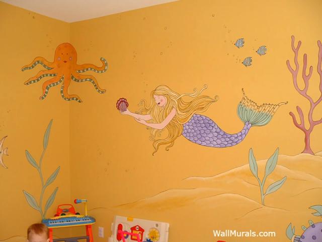 Playroom Wall Mural - Mermaid - Undersea