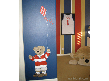 Teddy Bear Flying Kite Mural