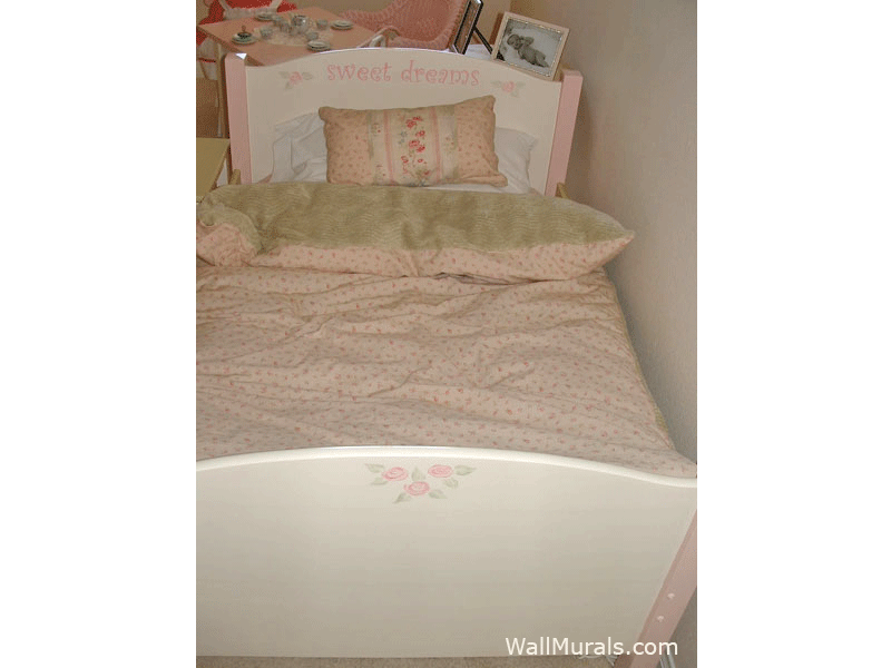 Painted Bed with Roses and Sweet Dreams