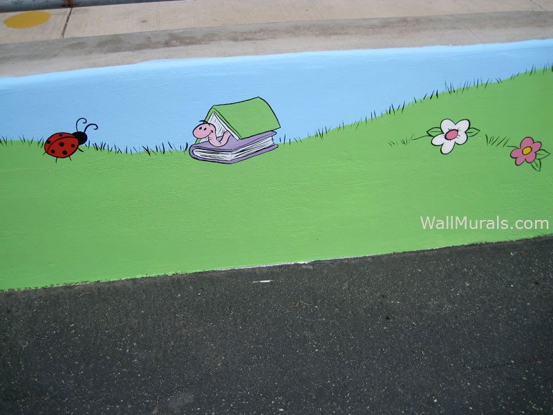 School Playground Mural on Cement Wall