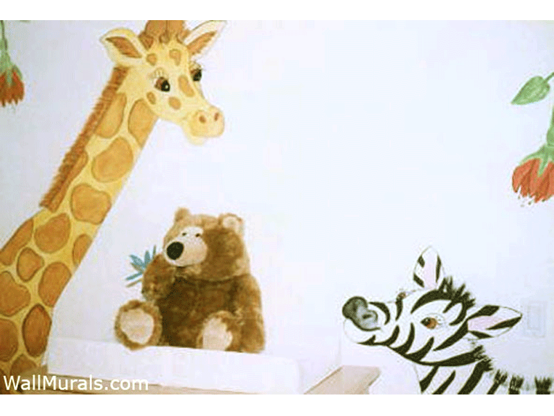 Giraffe and Zebra Mural