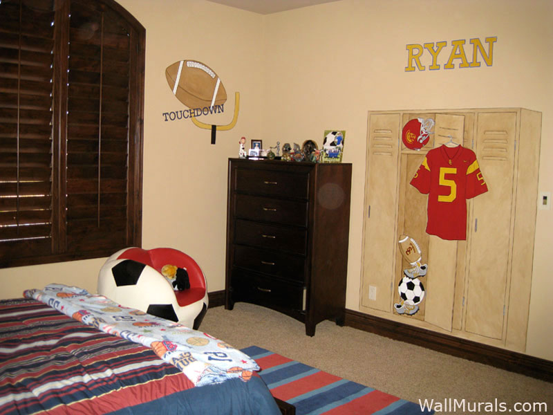 Hand Painted Sports Wall Murals Sports Themed Wall