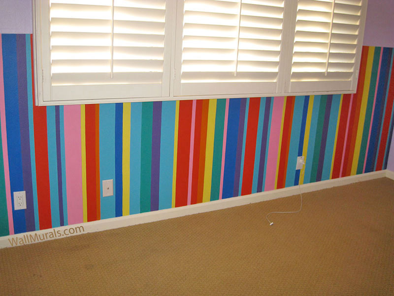 Painted Stripes on Wall - Teen Bedroom