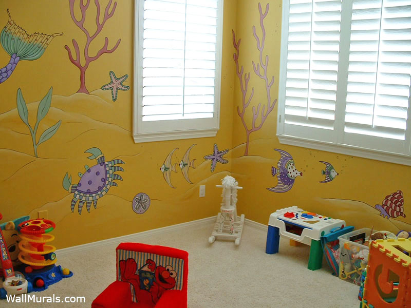 Ocean Wall Mural in Playroom