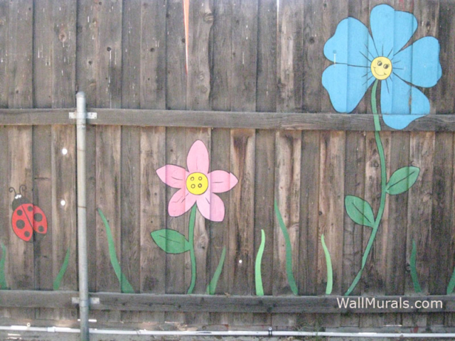 Preschool Wall Mural - Painted Fence in Playground