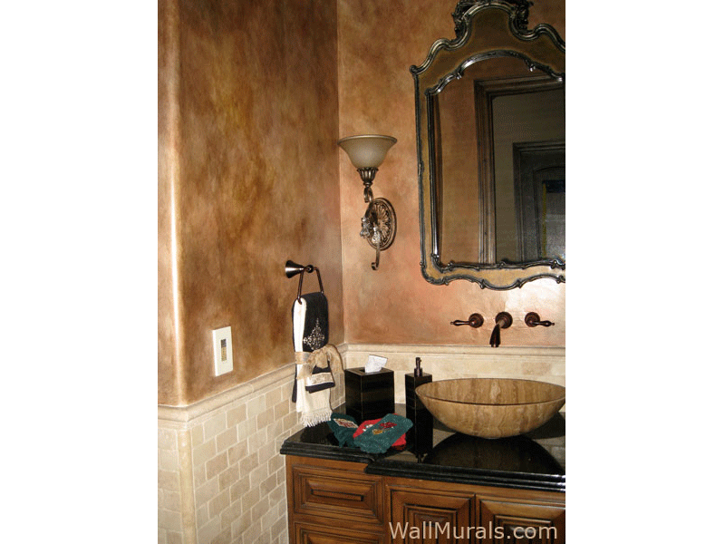 Faux Finished Walls in Powder Room