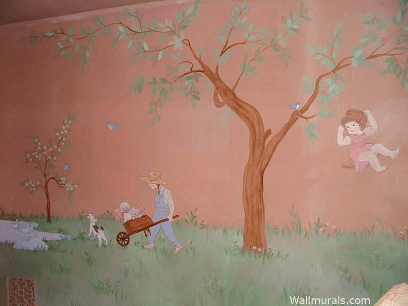 Tree Mural with Girl on Swing