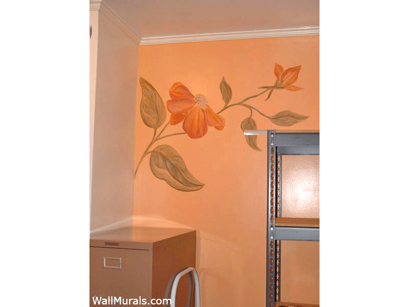 Home Office with Flower Mural