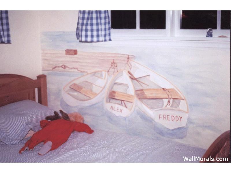 Row Boat at Dock Wall Mural