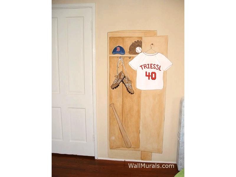 Baseball Locker Wall Mural