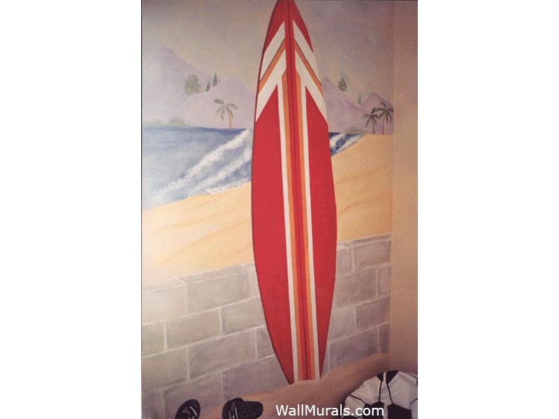 Beach Wall Mural with Surfboard