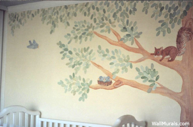 Tree Mural with Squirrel and Bird Nest